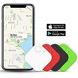 Schlüsselfinder Bluetooth, Key Finder GPS Schlüsselfinder mit App Anti-Lost Tracker Pfeifen für Telefon Haustiere Schlüsselbund Brieftasche Gepäck, Item Finder Smart Tracker für Android/iOS, 4 Packung