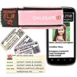 Smartphone-kompatibel Kinder Identität Notfall-Armband. Kind Sicherheit NotfallArmband Identität für: Allergie, Diabetes, medizinischen, SOS. Einfach zu aktualisieren. Wasserdicht. Strong. Waschbar. Kinder. Wahl von Farben. Sehr angenehm zu tragen. Ersatzkarten zur Verfügung. Multifunktionsband Identität Handgelenk. Die Nutzung mit mobilen Smartphone mit NFC RFID. (Rosa)